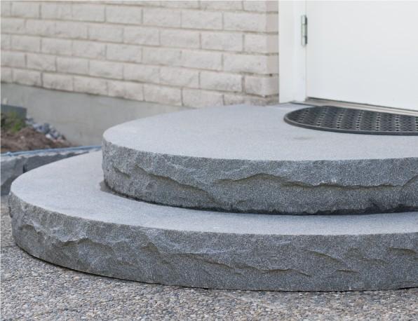 12 trappa granit halvrund